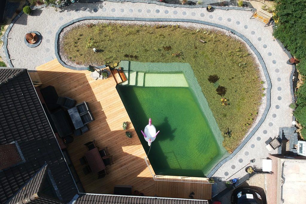 Fertiger Schwimmteich mit Terrasse von oben