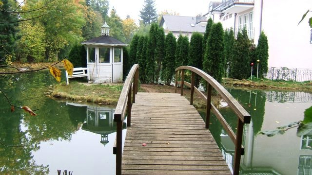 Fertiger Schwimmteich mit Brücke