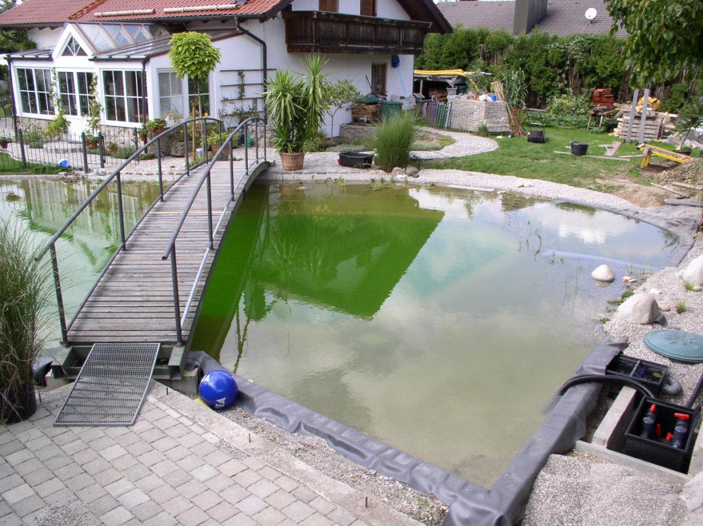 Brücke und Teich im Garten