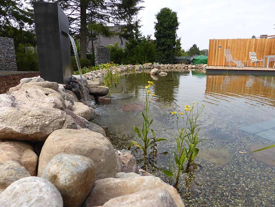 Fertiger Schwimmteich mit Wasserspeier